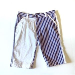 Givenchy blue white striped unique skinny shorts